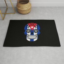 Sugar Skull with Roses and Flag of Cuba Rug
