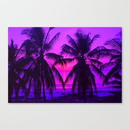 Pink Palm Trees by the Indian Ocean Canvas Print