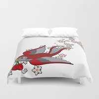 swallow Duvet Covers featuring Red Swallow by Jelly Roger