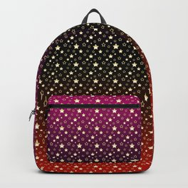 Gold stars on a crimson, black, and red gradient. Backpack