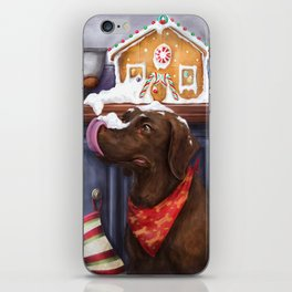 Chocolate Lab Gingerbread House iPhone Skin