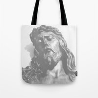 jesus Tote Bags featuring Jesus by Geni