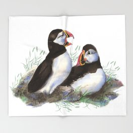 Watercolor Puffin Bird Couple Throw Blanket