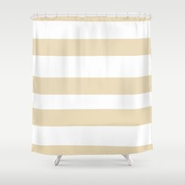 Valspar America Wood Yellow - Homey Cream - Glow Home Hand Drawn Fat Horizontal Stripes on White Shower Curtain