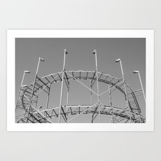 Vintage Rollercoaster Montevideo Art Print