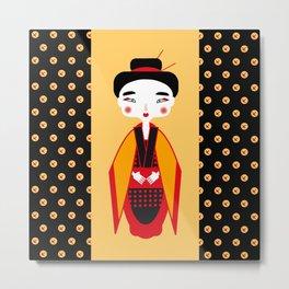Geisha with origami crane Metal Print