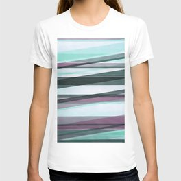 Semi Transparent Layers In Aqua Burgundy and Grey T-shirt