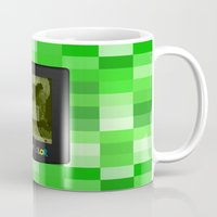 warcraft Mugs featuring Gameboy Color Green Creeper by Veylow