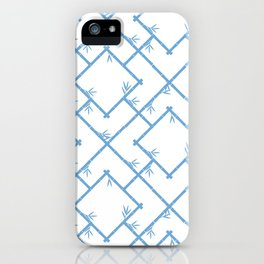 Bamboo Chinoiserie Lattice in White + Light Blue iPhone Case