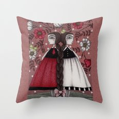 Snow-White and Rose-Red (1) Throw Pillow