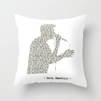 bastille Throw Pillows featuring Bastille Poet Lyrics by OhHolyBastille