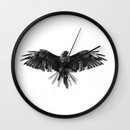 Black Bird White Sky Wall Clock
