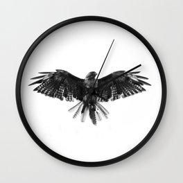 Black Bird White Sky Wall Clock