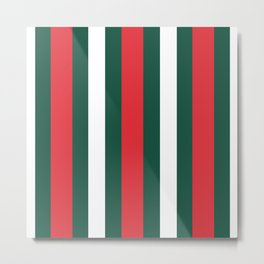 Green Red White Stripes Pattern Stripped Print Metal Print
