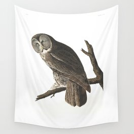 Great Cinereous Owl - Illustration by J.J. Audubon Wall Tapestry
