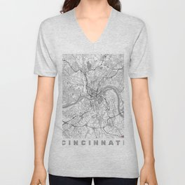 Cincinnati Map Line Unisex V-Neck