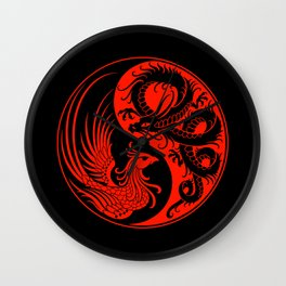 Red and Black Dragon Phoenix Yin Yang Wall Clock