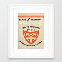 blade runner Framed Art Prints featuring Blade Runner by Tommaso Valsecchi