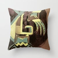 biggie smalls Throw Pillows featuring BIGGIE by ART by NATALIE MILLER