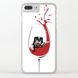 Had a ruff day?  It's wine time! Clear iPhone Case