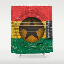 Old Vintage Acoustic Guitar with Ghana Flag Shower Curtain