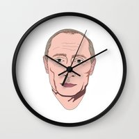 putin Wall Clocks featuring Putin by Ricardo Miranda Zuniga