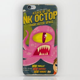 Pink octopus from outer space iPhone Skin