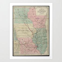 Vintage Midwestern United States Railroad Map Art Print