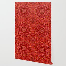 Red Geometric Bloom Mandala Wallpaper