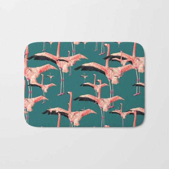 tropical flamingos  Bath Mat