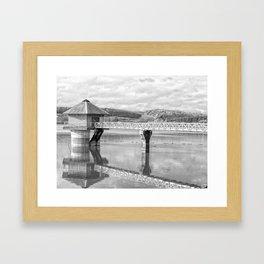 Cropston Reservoir Black And White Framed Art Print
