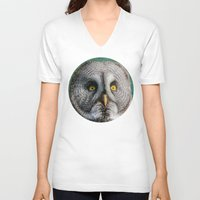 lady gaga V-neck T-shirts featuring GREY OWL by Catspaws