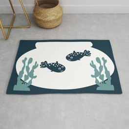 Two friendly fish together in a bowl - graphic Rug