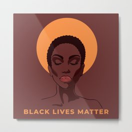 Young African American woman against racism. Metal Print