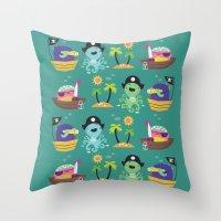 pirates Throw Pillows featuring Pirates by Maria Jose Da Luz