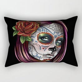 Mexican Skull Girl Rectangular Pillow