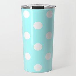 Polka Dots - White on Celeste Cyan Travel Mug
