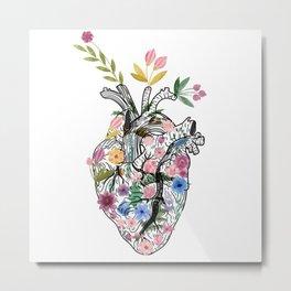 Corazón floral Metal Print