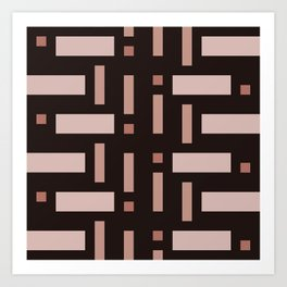 Pattern of Squares in Brown Art Print