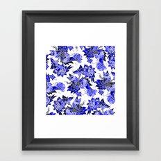 Modern navy blue china blue floral watercolor butterfly illustration pattern Framed Art Print