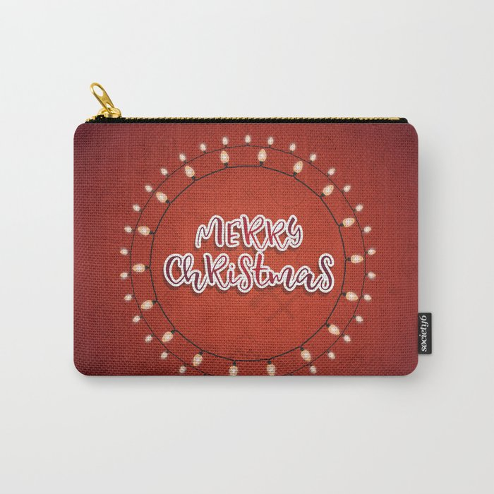 Happy holiday, Christmas sign with snow flake and christmas decoration Carry-All Pouch