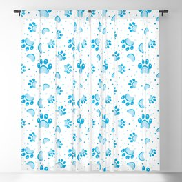 Paw print seamless pattern  in blue color Blackout Curtain