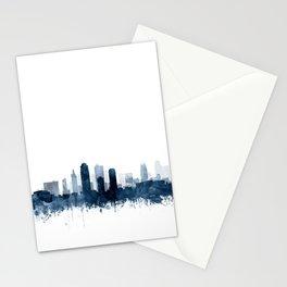 Kansas City Skyline Blue Watercolor by Zouzounio Art Stationery Cards