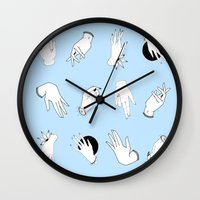 hands Wall Clocks featuring Hands  by Milly Scarlett