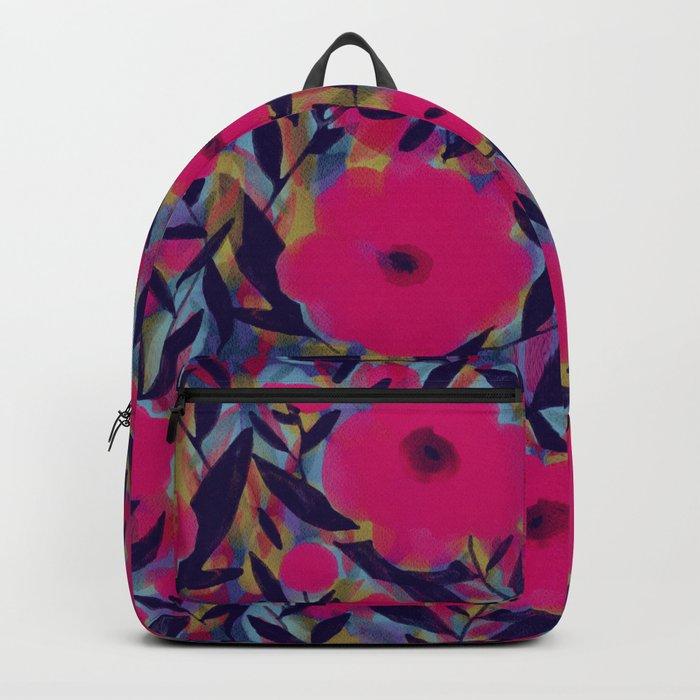 Layered Leaf Floral Fuchsia Backpack