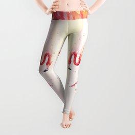 Pink Flamingo Rain | Facing Right Leggings
