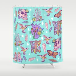 Pastel Goth Floral Morbid Anatomy Kawaii Witchy Shower Curtain