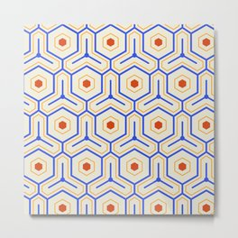 Vintage Hexagon Pattern Metal Print