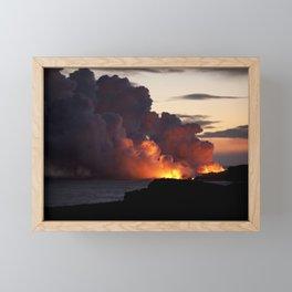 Lava Vaporizes Ocean Framed Mini Art Print