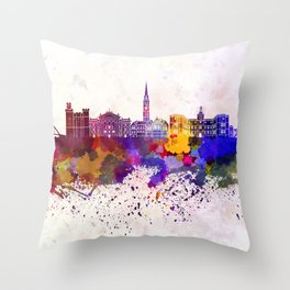 Newcastle skyline in watercolor background Throw Pillow